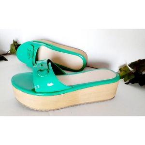"""C Label Mint Green Slide-on """"Flatform"""" Sandals"""